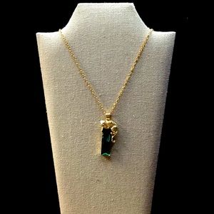 """💚💛""""GOLD LEOPARD AND CHAIN ON GREEN GLASS""""💛💚"""